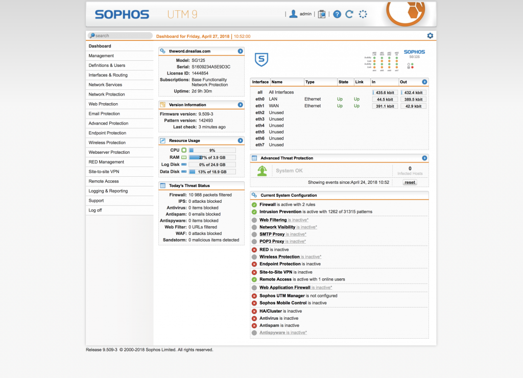 Application du Pare-feu Sophos